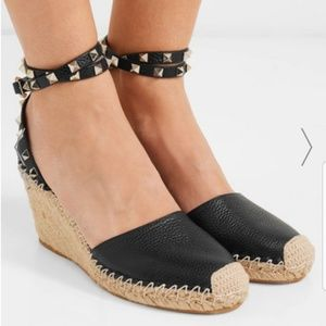 AUTHENTIC Valentino Leather Espadrille Wedge Shoes
